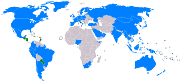 A map of the world showing countries which have relations with the Republic of China. Only a few small countries maintain diplomatic relations with the government of Taiwan, mainly in Central America, South America and Africa.