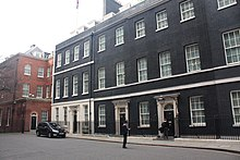 A wide shot of Downing Street