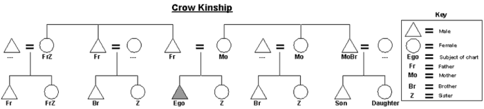 Graphic of the Crow kinship system