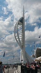 A view of the Spinnaker Tower from the ground at Gunwharf Quays. The tower itself resembles a sail, reflecting Portsmouth's maritime history.