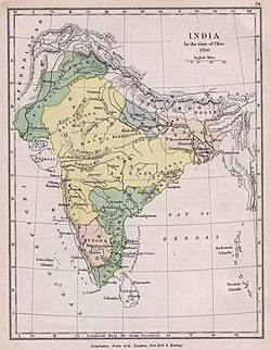 Territory under Maratha control in 1759 (yellow).