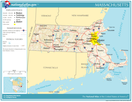Massachusetts Wikipedia - Boston massachusetts us map
