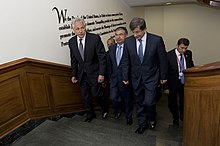 Secretary of Defense Chuck Hagel escorts Turkish Minister of National Defense Ismet Yilmaz and Minister of Foreign Affairs Ahmet Davutoglu to a meeting at the Pentagon.jpg