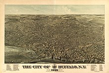 Old panorama sketch of a large city with thousands of buildings