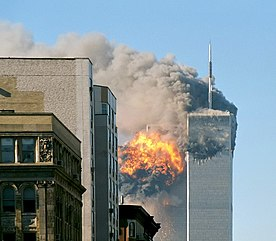 The twin towers are seen damaged during 9/11