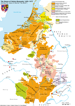 Burgundian territories of the House of Valois-Burgundy during the reign of Charles the Bold (1465/67–1477), with the Burgundian possessions in the Low Countries appearing in the top half of the map, known as pays de par deça (land over here), that under Habsburg rule developed in pays d'embas (lands down here).