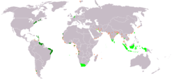 An anachronous map of the Dutch colonial Empire. Light green: territories administered by or originating from territories administered by the Dutch East India Company Dark green: territories administered by or originating from territories administered by the Dutch West India Company. Tiny orange squares indicate smaller trading posts, the so-called handelsposten.