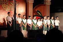 Secondary-school students onstage