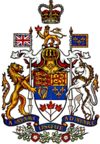 The official depiction of the Arms of Canada as painted in 1957 by Allan Beddoe