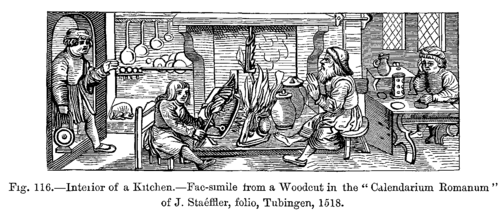 Woodcut of a kitchen