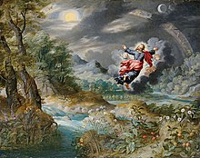 painting of dark gray skies with trees and water, and a human image, flying, with arms outstretched