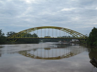 The Batang Mukah Bridge, one of the most notable structures of Mukah.