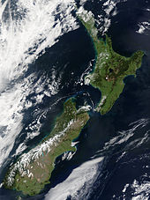 Islands of New Zealand as seen from satellite