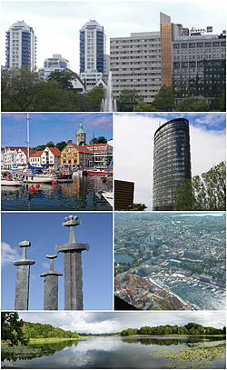 (top down, clockwise) * Breiavatnet * Rica Forum Hotel * Stavanger aerial photo * Lille Stokkavann * Monument to the Battle of Hafrsfjord * View of Vagen