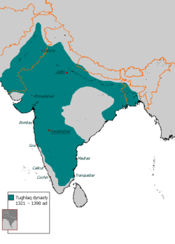 Delhi Sultanate reached its zenith under the Turko-Indian Tughlaq dynasty.[1]