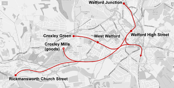 Line arcing south-west from Watford Junction to Rickmansworth, with two northbound branches to Croxley Green and Croxley Mills