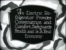 File:Theater commercial, electric refrigerator, 1926.ogv