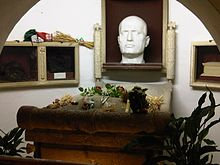 Tomb of Mussolini in the family crypt, in the cemetery of Predappio, sarcophagus with death mask