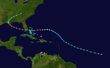 The path of Hurricane Andrew, which starts in the open Atlantic Ocean and tracks northwestward. It curves westward while between Puerto Rico and Bermuda, eventually crossing the Bahamas and Florida. In the Gulf of Mexico, the track re-curves into Louisiana and stops over eastern Tennessee.