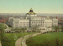 bird's eye view color postcard of Library of Congress Jefferson building