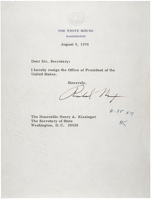 Letter of Resignation of Richard M. Nixon, 1974.jpg