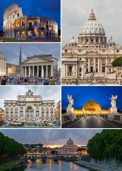 Clockwise from top: the Colosseum, St. Peter's Basilica, Castel Sant'Angelo, Ponte Sant'Angelo, Trevi Fountain and the Pantheon