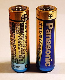 Two AA batteries each have a plus sign marked at one end.