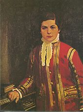 Painting of Sullivan, about age 12, in his Chapel Royal uniform, standing next to an organ keyboard