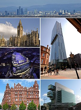 Clockwise from top: City Centre (2009), Beetham Tower, Manchester Civil Justice Centre, Midland Hotel, One Angel Square, Manchester Town Hall