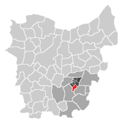Localisation of Aaigem in the community of Erpe-Mere in the arrondissement of Aalst in the province of East-Flanders.