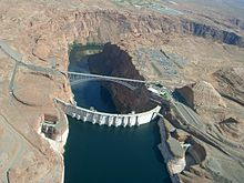 Aerial view of Glen Canyon Dam from upstream