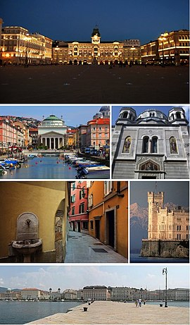 A collage of Trieste showing the Piazza Unità d'Italia, the Canal Grande (Grand Canal), the Serbian Orthodox church, a narrow street of the Old City, the Castello Miramare, and the city seafront