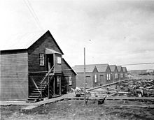 Quarters for Filipino workers at a salmon cannery in Nushagak, Alaska in 1917.