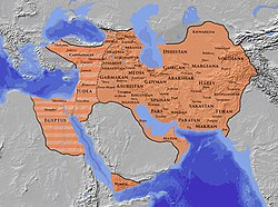 The Sasanian Empire at its greatest extent c. 620, under Khosrow II *   Normal domains *   Greatest temporary extent during Byzantine–Sasanian War of 602–628