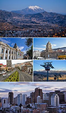 Top to Bottom, Left to Right: La Paz Skyline with Mount Illimani in the background, Palace of the Plurinational Legislative Assembly, San Francisco Church, Mariscal Santa Cruz Avenue, Red Line of the La Paz-El Alto cable car transit system, Downtown La Paz.