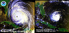 A comparison of two hurricanes, with the one of the left, Floyd, noticeably larger than the other, Andrew