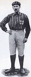 A black-and-white picture of Herbert Kilpin, the first captain of AC Milan