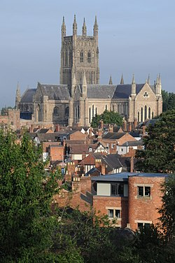 Worcester Cathedral from Fort Royal Hill