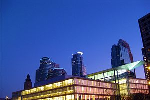 Minneapolis Central Library and night skyline.jpg