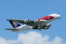 Singapore Airlines celebrated the nation's Golden Jubilee with a flag livery on its Airbus A380