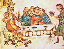 Krum feasting with his nobles after the battle of Pliska, detail from the Manasses chronicle