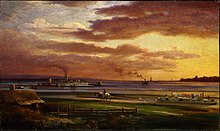 Painting of a sunset over a waterfront harbour