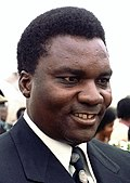 Photograph of President Juvénal Habyarimana arriving with entourage at Andrews Air Force Base, Maryland, USA on 25 September 1980.