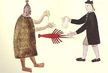 A Maori man and a Naval Officer trading, c. 1769.