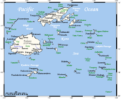 Fiji map showing Koro Sea and Koro Island