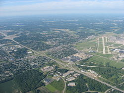 Aerial view of Vandalia, with the Dayton International Airport to the north