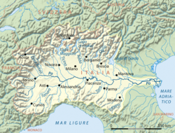 Map of the Po river basin.