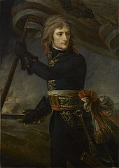 A three-quarter-length depiction of Bonaparte, with black tunic and leather gloves, holding a standard and sword, turning backwards to look at his troops