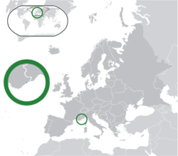 Location of Monaco (green) in Europe (green & dark grey)