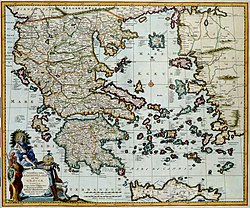 This map of the island Crete before the coast of Greece was published after 1681 by Nicolaes Visscher II (1649-1702). Visscher based this map on a map by the Danish cartographer Johann Lauremberg (1590-1658)
